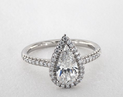 1.15 carat Pear shaped Halo engagement ring in Platinum James Allen