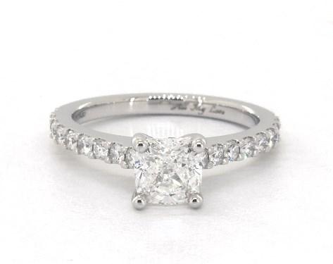 1.20 carat Cushion Modified cut Pave engagement ring in Platinum James Allen