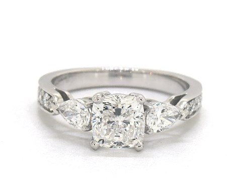 1.20 carat Cushion Modified cut Three Stone engagement ring in 14K White Gold James Allen