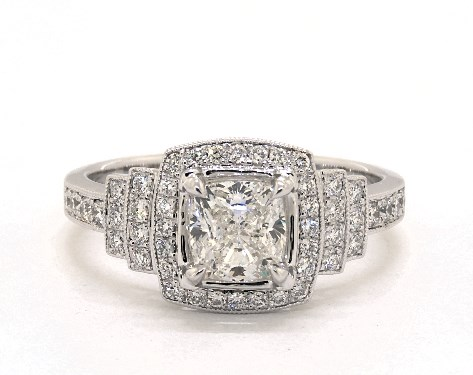 1.20 carat Cushion Modified cut Vintage engagement ring in 14K White Gold James Allen
