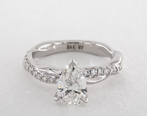 1.21 carat Pear shaped Pave engagement ring in14K White Gold James Allen