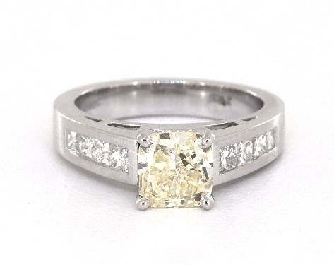 1.23 carat Cushion Modified cut Channel Set engagement ring in 14K White Gold James Allen