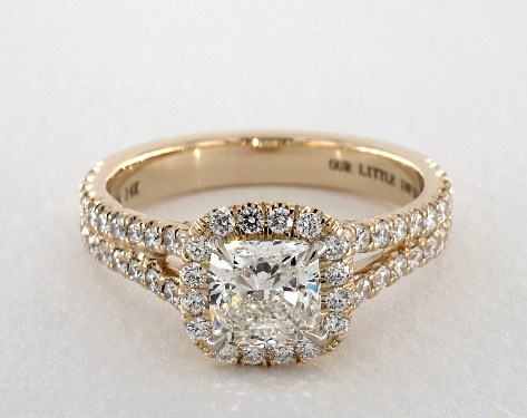 1.24 carat Cushion cut Halo engagement ring in 14K Yellow Gold James Allen