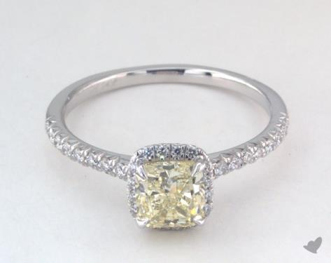 1.24 carat Cushion cut Halo engagement ring in 14K White Gold James Allen