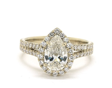 1.31 carat Pear shaped Halo engagement ring in 18K Yellow Gold James Allen