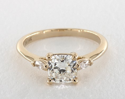 1.40 carat Cushion Modified cut Three Stone engagement ring in 14K Yellow Gold James Allen