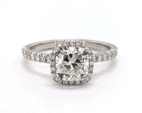 1.50 carat Cushion Modified cut Halo engagement ring in Platinum James Allen