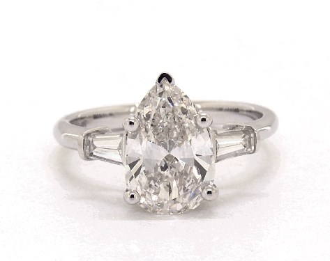 1.50 carat Pear shaped Side stones engagement ring IN 14K White Gold