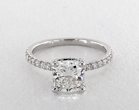 1.50 carat Cushion Modified cut Pave engagement ring IN 14K White Gold James Allen