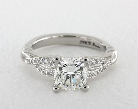 1.50 carat Cushion cut Pave engagement ring in Platinum James Allen