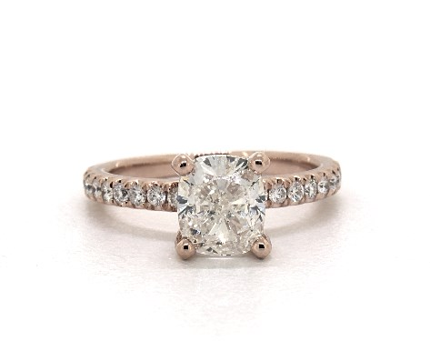1.51 carat Cushion Modified cut Pave engagement ring IN 14K Rose Gold James Allen