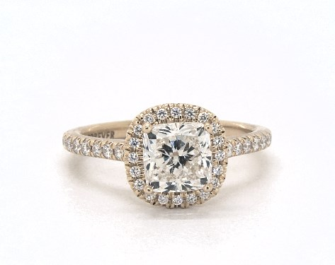 1.52 carat Cushion Modified cut Halo engagement ring in 18K Yellow Gold James Allen