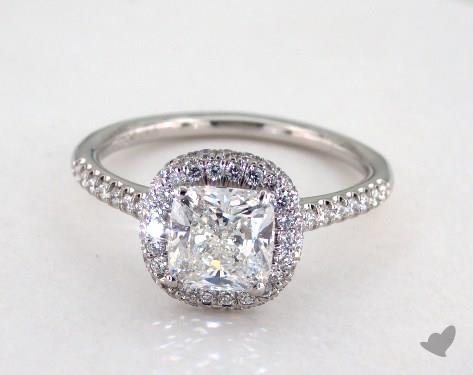 1.54 carat Cushion cut Halo engagement ring IN Platinum James Allen