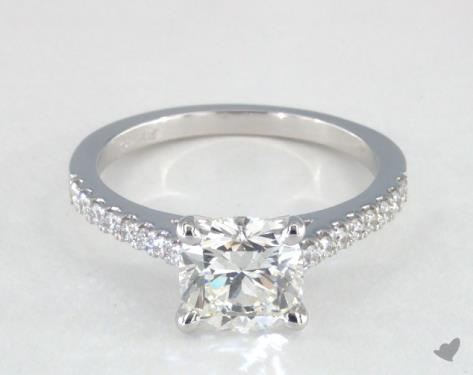 1.55 carat Cushion cut Pave engagement ring in 14K White Gold James Allen