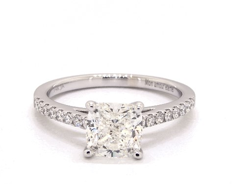 1.62 carat Cushion cut Pave engagement ring in 14K White Gold James Allen