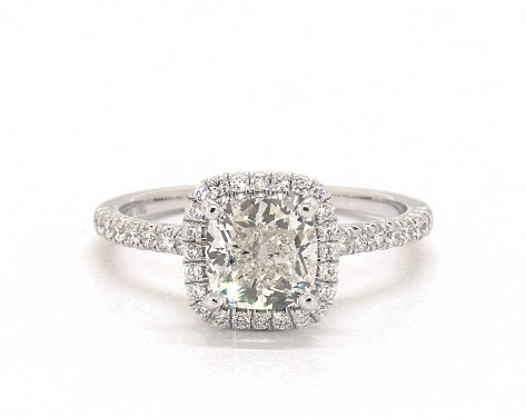 1.65 carat Cushion Modified cut Halo engagement ring in 18K White Gold James Allen