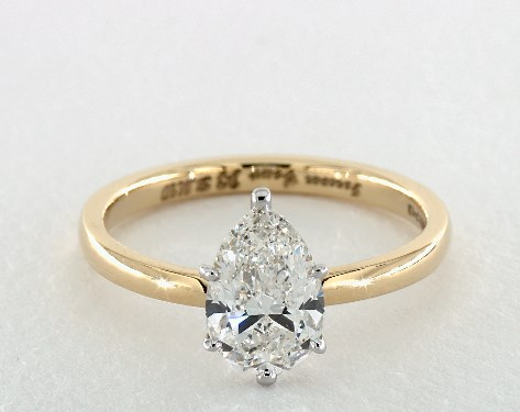 1.70 carat Pear shaped Solitaire engagement ring in 18K Yellow Gold James Allen