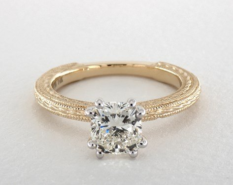 1.71 carat Cushion cut Solitaire engagement ring in 14K Yellow Gold James Allen