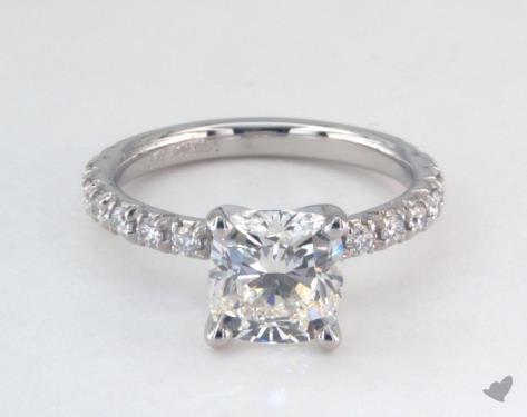 1.77 carat Cushion cut Pave engagement ring in Platinum James Allen