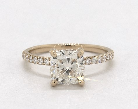 1.81 carat Cushion Modified cut Pave engagement ring in 18K Yellow Gold James Allen