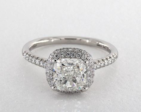 2.01 carat Cushion cut Halo engagement ring in Platinum James Allen