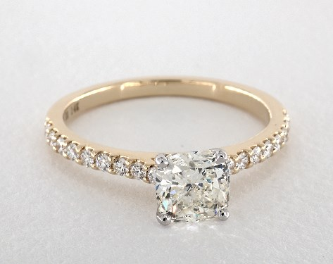 2.03 carat Cushion cut Pave engagement ring in 14K Yellow Gold James Allen