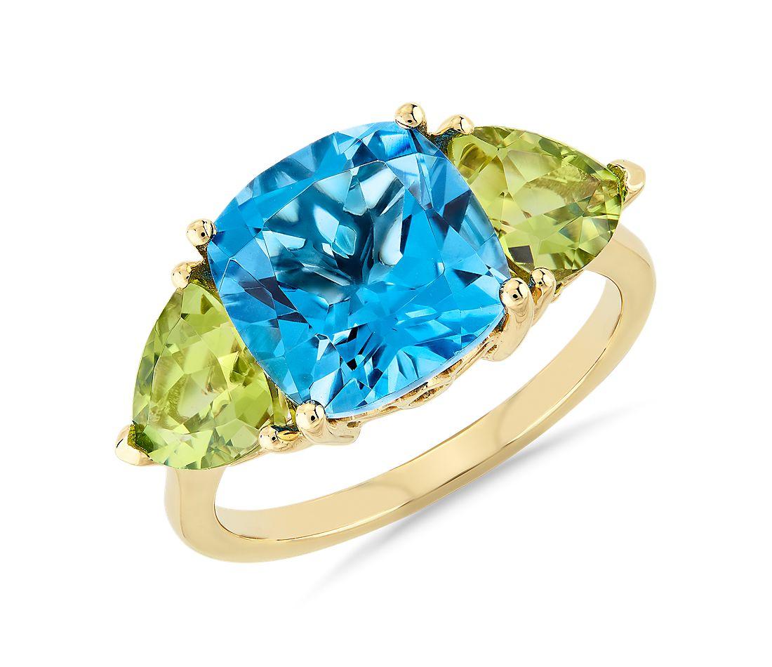 Cushion Swiss Blue Topaz and Peridot Trillion Ring Blue Nile