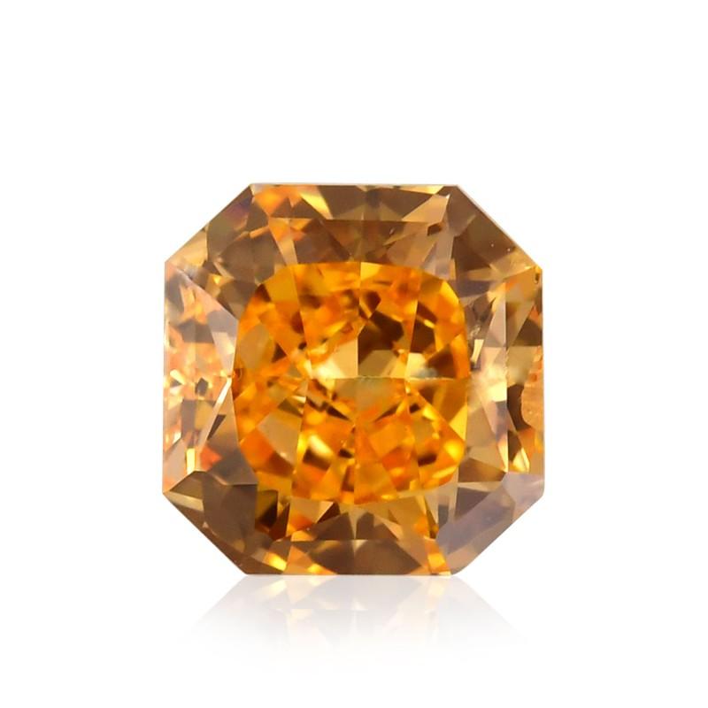 0.65 carat, Fancy Vivid Orange Diamond, Radiant Shape, (SI1) Clarity, GIA Leibish