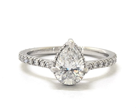 Lab-Created 1.02 carat Pear shaped Pave engagement ring in Platinum James Allen