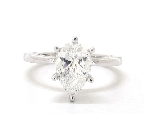 Lab-Created 1.56 carat Pear shaped Solitaire engagement ring in 14K White Gold James Allen