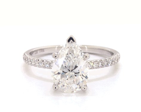 Lab-Created 2.00 carat Pear shaped Pave engagement ring in 14K White Gold James Allen