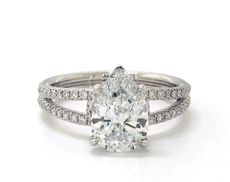 Lab-Created 2.03 carat Pear shaped Pave engagement ring in Platinum James Allen