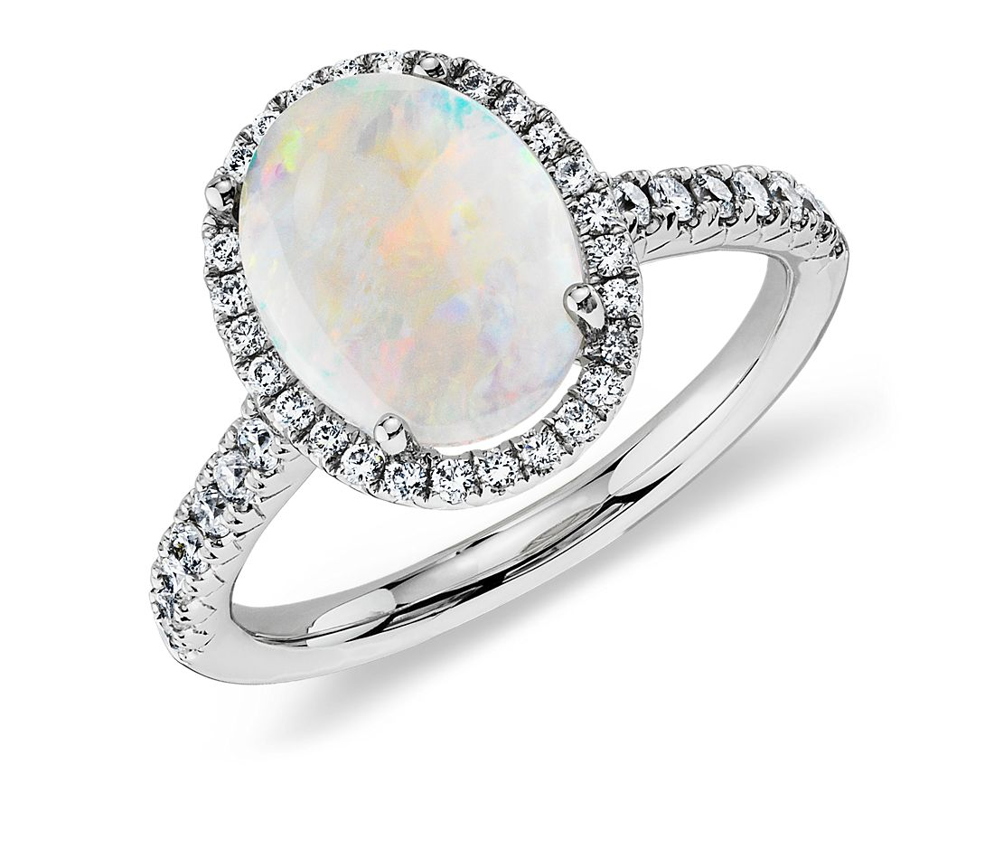 Opal and Diamond Halo Ring in 18k White Gold Blue Nile