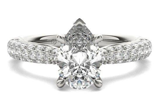Tapered Three-row Pavé Diamond Engagement Ring Ritani