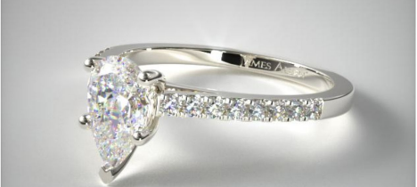 .70 Carat 14K White Gold Petite Pave Cathedral Engagement Ring from James Allen