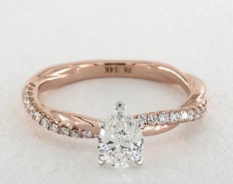 0.91 carat Pear shaped Pave engagement ring in14K Rose Gold James Allen