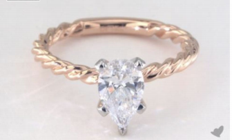 .90 Carat Rose Gold Twisted Solitaire Engagement Ring from James Allen