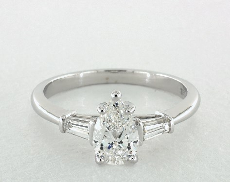 0.90 carat Pear shaped Side stones engagement ring IN 14K White Gold James Allen