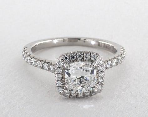 0.90 carat Cushion Modified cut Halo engagement ring in Platinum James Allen