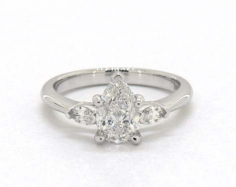 0.90 carat Pear shaped Three Stone engagement ring in 14K White Gold James Allen