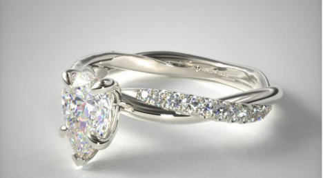 .91 Carat 14K White Gold Twisted Pave Engagement RIng from James Allen