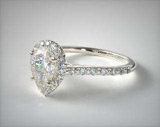 .60 Carat 14K White Gold Pave Halo Engagement Ring from James Allen