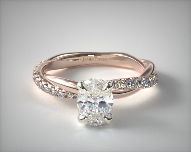 14K Rose Gold Pave Rope Engagement Ring James Allen