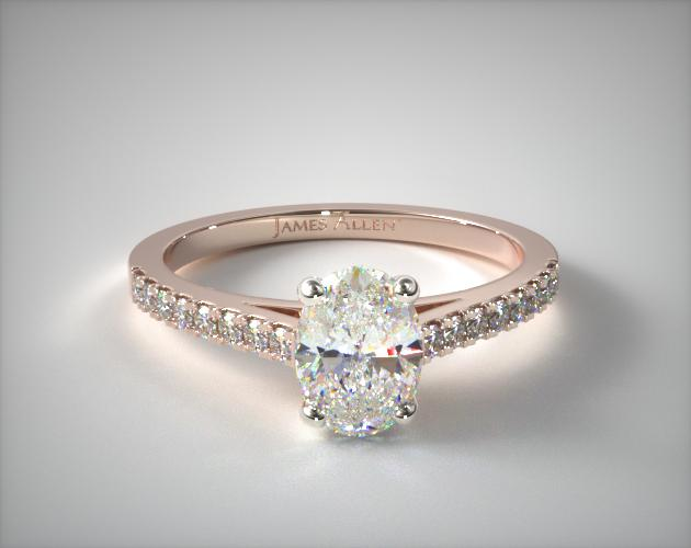 14K Rose Gold Petite Pave Cathedral Engagement Ring James Allen