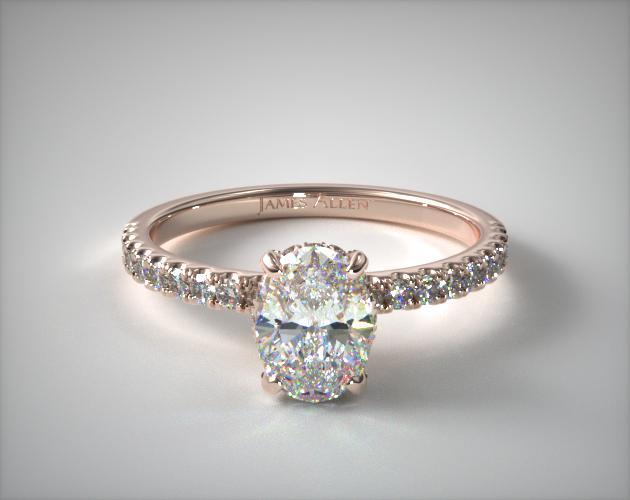14K Rose Gold Petite Pave Crown Diamond Engagement Ring James Allen