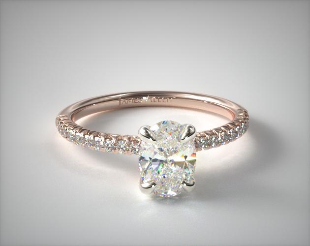 14K Rose Gold Petite Pave Engagement Ring Flush Fit James Allen