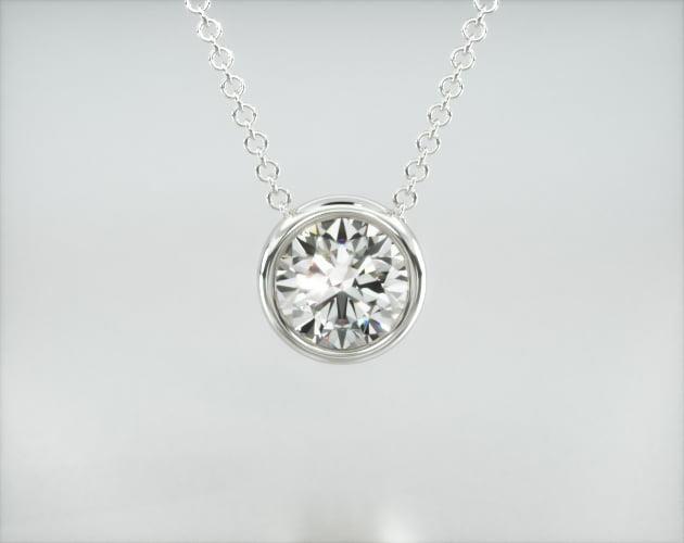 14K White Gold Bezel Diamond Pendant James Allen