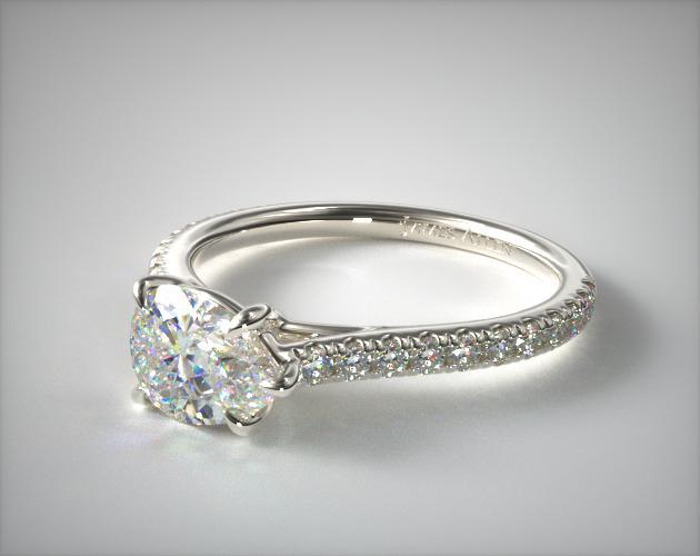 14K White Gold East-West Pave Cathedral Diamond Engagement Ring James Allen