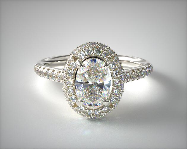 14K White Gold Falling Edge Pave Diamond Engagement Ring James Allen