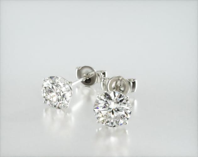 14K White Gold Four Prong Round Brilliant Diamond Stud Earrings James Allen